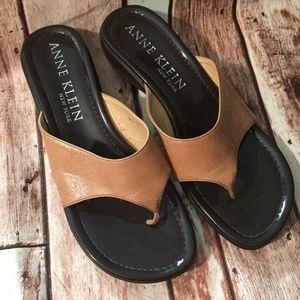 Anne Klein tan and brown sandals